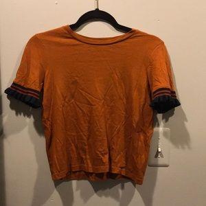 Zara Burnt Orange Ruffle sleeve Shirt